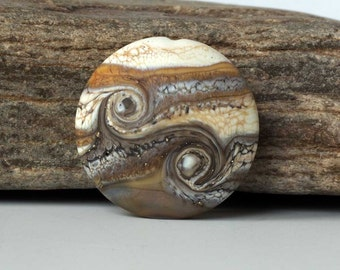 Etched Organic Lampwork Bead Focal, Handmade Lentil in Ivory & Brown Glass