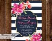 10% OFF SALE Bridal Shower Invitation, Navy Blue and White Stripes Shower Invitation, Gold Glitter Bridal Shower, Watercolor Floral, Tropica