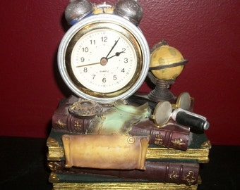 Vintage Library Desk Clock Resin Cast Old World Office Theme Globe Spectacles Books