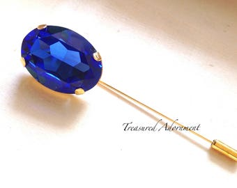 Cobalt Blue Oval Rhinestone Hijab pin, Gold tone, Scarf pin, Shawl pin, Brooch, Eid Gift, Ramadan Gift, present, Something Blue