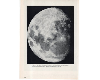 c. 1952 - GIBBOUS MOON LUNAR phase lithograph - original vintage print - between first quarter and full - view from Yerkes Observatory