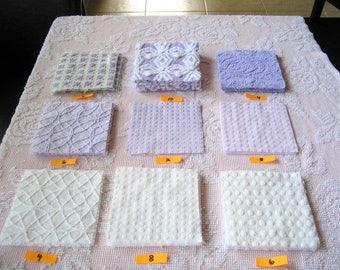"Lavender / Purples and Whites 6"" Quilt Squares Vintage Chenille Bedspread Fabrics (49)"