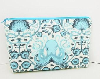 Octopus Garden, Cosmetic Zipper Pouch, Make Up Bag, Aqua Blue