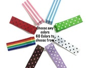 25 MINI SINGLE Prong Alligator Clips No-Slip You Choose Colors - Swiss Dots, Stripes Ribbon Lined Alligator Clips