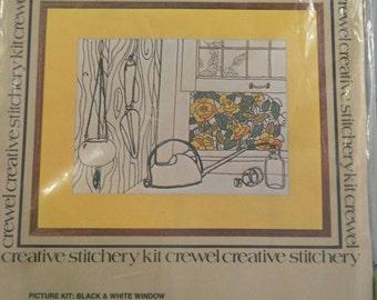 Vintage Vogart Crafts Crewel Creative Stitchery Kit Black & White Window