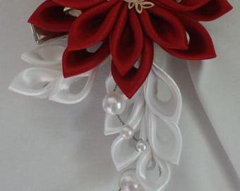 Hair Clip - Red White Kanzashi Flower with Pearls Wedding Hair Flowers