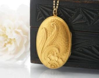 Vintage Locket   Large Gold Oval Locket Necklace   Art Nouveau Design Gold Fill Vintage Locket   Hammered Gold Photo Locket - 24 Inch Chain