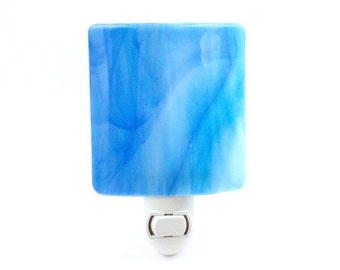 Night Light, Pastel Blue Wispy Stained Glass