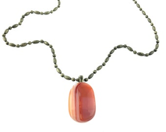Pendant Necklace, Terra Cotta, Orange, Bronze Chain, Art Glass Jewelry