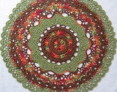 Autumn Doily-12.5 inch Doily-Greens,Oranges and Browns Doily-Variegated Pineapple Doily-HandCrocheted Egyptian Cotton Doily-Cindy's Loft