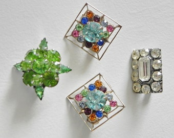 4 Small Rhinestone Pins Brooches. Lingerie Pins, Multi Color.
