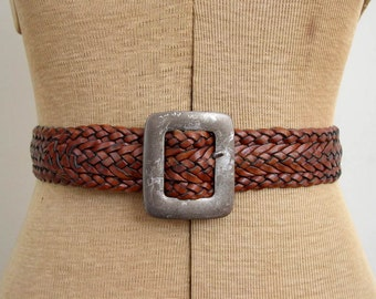 Vintage 1990's Braided Leather Belt / 90's Timberland Wide Brown Leather Belt