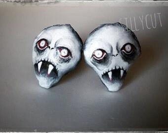 Reserved - BITER cufflinks - gothic, victorian, macabre, vampyr, vampire, nosferatu, soft sculpture, handpainted
