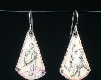 Matador Scrimshaw Earrings