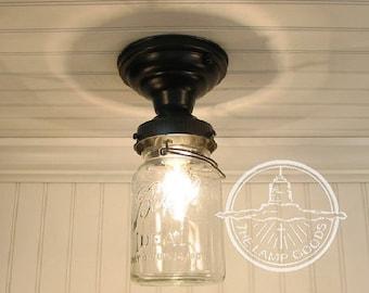 Flush Mount  Mason Jar Ceiling LIGHT Fixture Single Vintage Quart