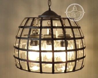 Mason Jar Light Farmhouse CHANDELIER 5-Light Country Island Kitchen Pendant Basket Lighting Fixture Original Design by LampGoods