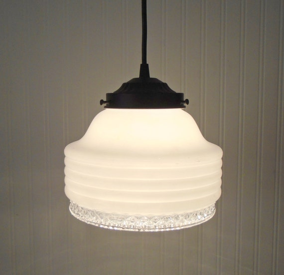 Mid Century MODERN Milk Glass And Clear Globe PENDANT Light