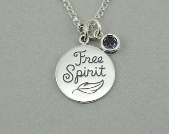 Hippie Necklace - Sterling Silver Free Spirit Jewelry, Boho Jewelry, Boho Necklace, Birthstone Necklace, Birthday Gift