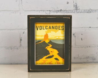 Volcanoes National Park Framed Postcard - Hawaii Travel Gift Frame - Vintage Sable Finish 1x1 Out Cove Style - IN STOCK Same Day Shipping