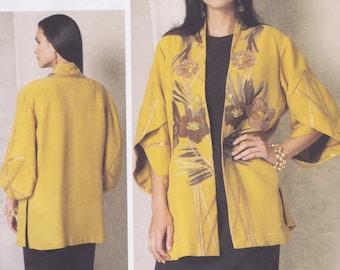 Vogue American Designer Koos Van Den Akker Pattern V1493 Loose-Fitting Unlined Jacket, In-Seam Pockets & Applique Misses 4 - 14, Advanced