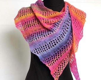 Shawl Scarf Hand Dyed, Hand Spun, Hand Knitted, Tropical Sunset