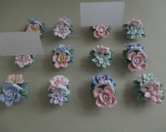12 Vintage Bone China Place Card Holders Weddings Showers
