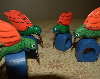 Vintage Hummingbird Napkin rings set of 4