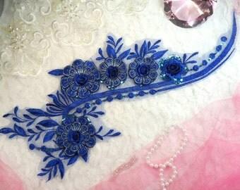 """Embroidered 3D Applique Blue Floral Ballet Sequin Patch 16"""" (DH74-bl)"""