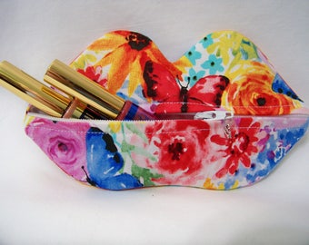 Zippy Lips in Big Bang Blooms - Makeup Pouch - Coin Purse - Lipstick Pouch - Ready To Ship