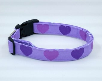 Hearts of Lilac Purple Heart Dog Collar