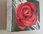 Gold edged Red Rose 4x4 original acrylic painting on newsprint/ love romance feminine flower scarlet crimson gilded peacock feather