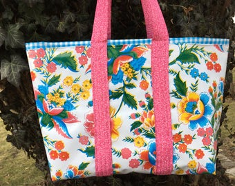 Large reversible  floral oilcloth tote bag on white