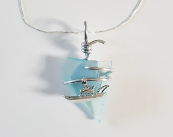 Ice Blue Teal Sea Glass Necklace handmade with sterling fishing Boat and silver aluminum