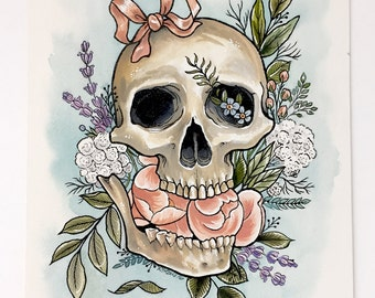 Death and Growth - Watercolor Tattoo Illustration - Skull - Flowers - Peonies - Lavender - Painting - Art