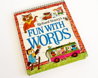 Vintage 1970s Childrens Book / Richard Scarry's Fun With Words 1971 Hc / Two Books In One - All Kinds of Words and Storybook Dictionary