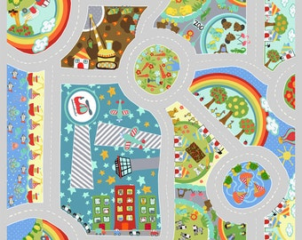 Search and See Play Mat Fabric Cars and Roads Travel to Farms Zoo Beach Airport on Gray ITB