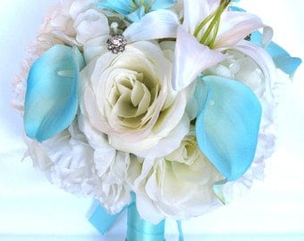 "17 Piece Package Wedding Bouquets Bridal Bouquet Wedding Silk flowers IVORY Cream AQUA Calla LILY blue Wedding Centerpiece ""RosesandDreams"""