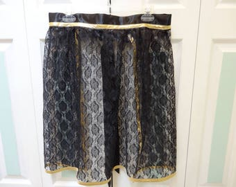 BLACK LACE APRON, hostess style, black satin ,extra long ties, one size fits most ,gold lame bias tape trim