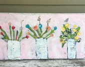 15 x 30 canvas, mixed media original painting, pinks, flowers with bird,