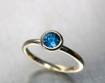 Minimalistic London Blue Topaz Engagement Ring 14K Yellow Gold Modern Simple Bridal Setting Deep Intense Color Wedding Band - Cerulean Cup