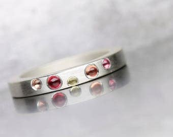 Modern Multicolored Sapphire Cabochon Band Pink Red Yellow Peach Silver Ring Simple Colorful Stackable September Birthstone - Bubble Bath