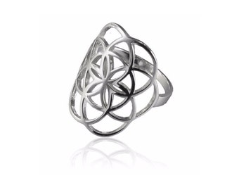 Seed Of Life Silver Ring, Tribal ring, Sacred Geometry Jewelry, Silver Rings, Boho ring, Protection jewelry, Tribu,