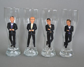 SALE Groomsmen Gift Bachelor Party Personalized Caricatures Hand painted to their Likeness Wine or Beer Glasses