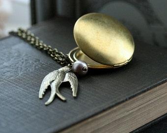 Round Locket Necklace, Round locket with bird, Flying  Bird Locket Necklace,Vintage Style Locket with bird, gift for her - Grace