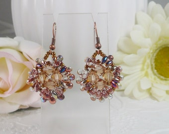 Earrings Woven Crystal and Antiqued Copper