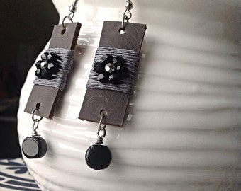 Leather Earrings with Black and Grey