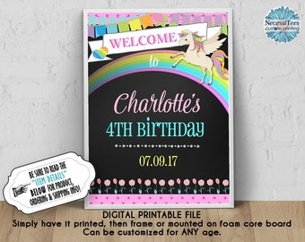 DIGITAL Welcome to My Birthday Poster, 8x10, 11x14, 16x20,18x24, Unicorn, Rainbow, Pastel Colors, Pink, Chalkboard Look Sign, JPG