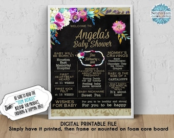 DIGITAL Personalized Baby Shower Poster, 8x10, 11x14, 16x20, 18x24, Watercolor Florals, Flowers, Mommy To Be Sign, Chalkboard Sign, JPG