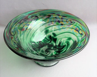 Hand Blown Art Glass Fruit,Candy Bowl/Plate on Foot,  Green Multicolored Pattern.