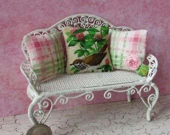 Ooak Dollhouse miniature wren bird pillow set cottage chic pink green